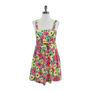 Pink yellow & green floral cotton Lilly dress